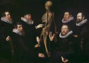 La lección de osteología del Dr. Sebastiaen Egbertz, por Nicolaes Eliasz Pickenoy, 1619, 135 x 180 cm, Museo de Ámsterdam.
