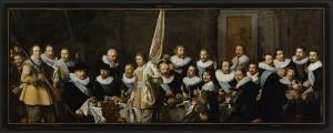 Banquete de la compañía del capitán Jacob Backer y el lugarteniente Jacob Rogh, por Nicolaes E. Pickenoy, 1632, 198 x 531 cm, Museo de Ámsterdam.