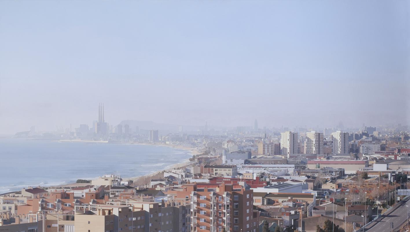 La ciudad dibujada III, de Pere Santilari, 2012, óleo sobre tela.