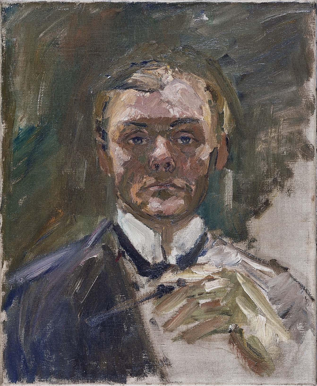 Autorretrato con la mano levantada, Max Beckman, 1908, óleo sobre lienzo, 55 x 45 cm.
