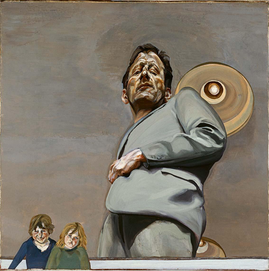 Reflejo con dos niños (Autorretrato), 1965, óleo sobre lienzo, 91 x 91 cm.