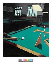 La tacada metafísica, serie El Billar, 1977, acrílico sobre lienzo, 130 x 110 cm, colección privada, cortesía Galería Benlliure.