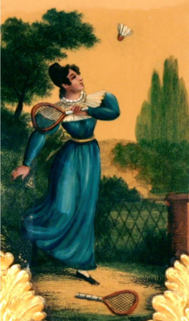 Mujer jugando al tenis, de uno de los floreros del Museo. Arriba, Viva el amor, 1990, rotulador y gouache sobre papel Bristol, 45 x 55 cm, Niki Charitable Art Foundation, Santee, EE. UU.