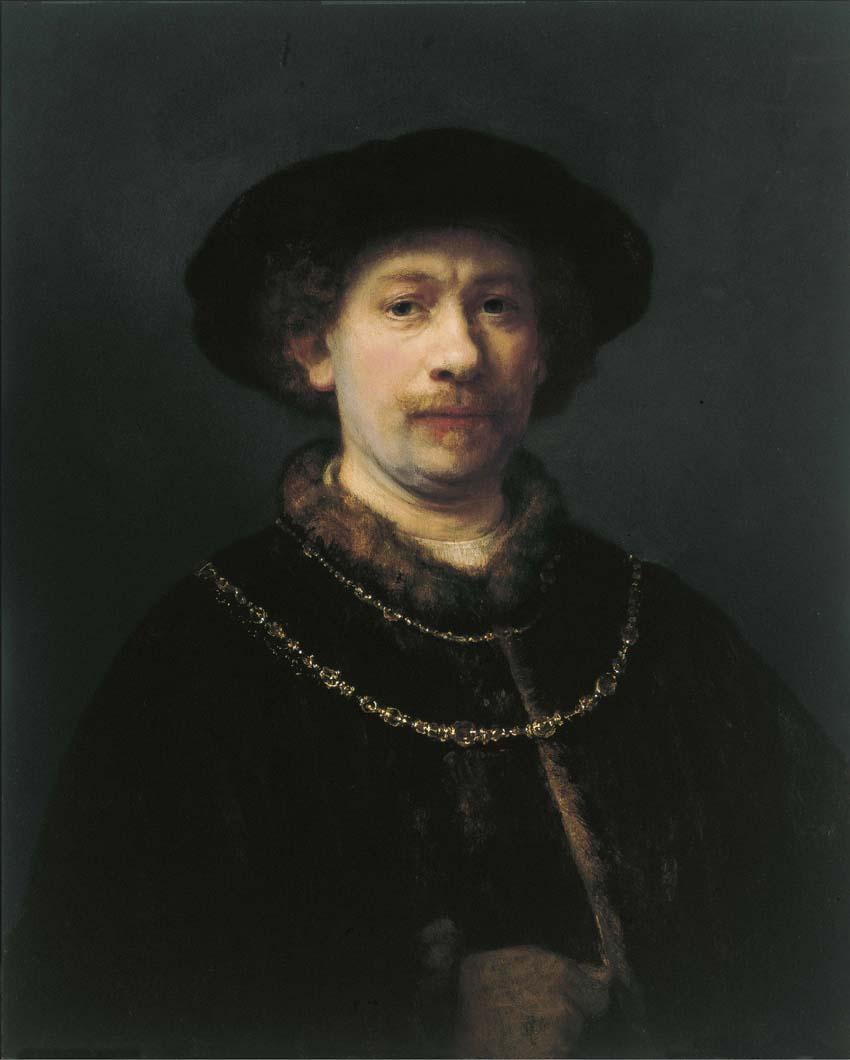 Autorretrato con gorra y dos cadenas, Rembrandt, h. 1642-43, óleo sobre tabla, 72 x 54,8. Todas las imágenes, Museo Thyssen-Bornamisza, Madrid.
