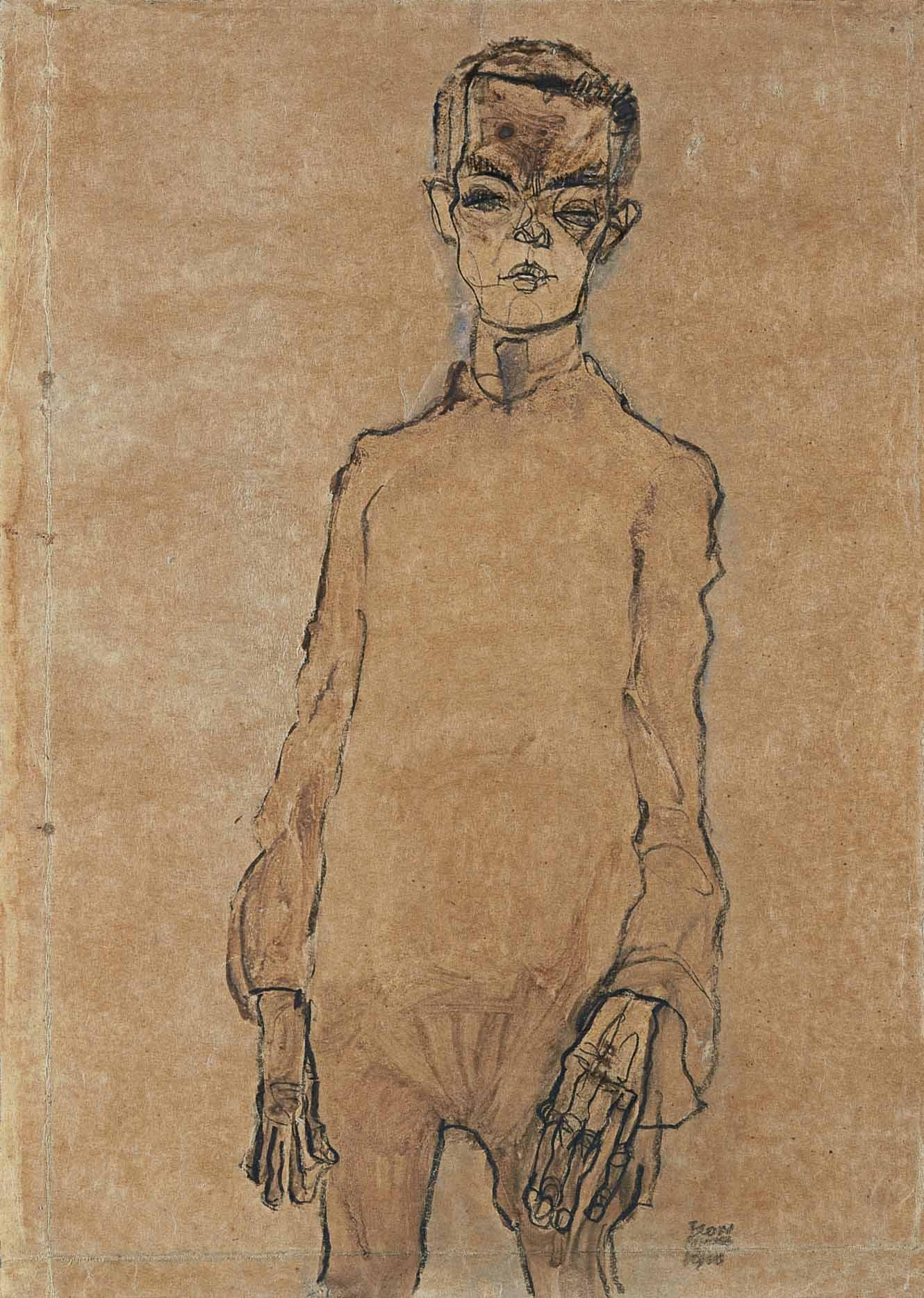 Aurorretrato, Egon Schielle,  1910, acuarela y carboncillo sobre papel, 45 x 31,5 cm.