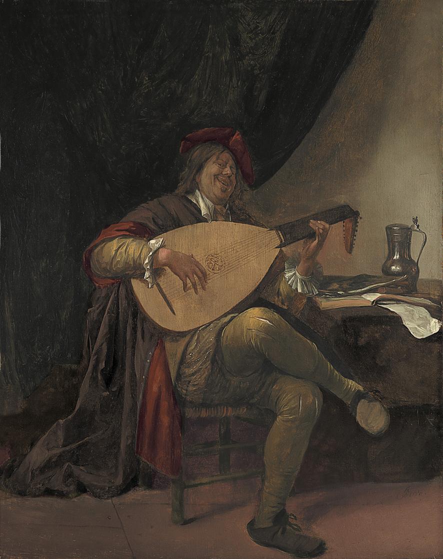 Autorretrato con laúd, Jan Havicksz Steen, h. 1663-65, óleo sobre tabla, 55,3 x 43,8 cm. Arriba, detalle de un autorretrato de Lorenzo Lotto, óleo sobre tabla, 43 x 35 cm.