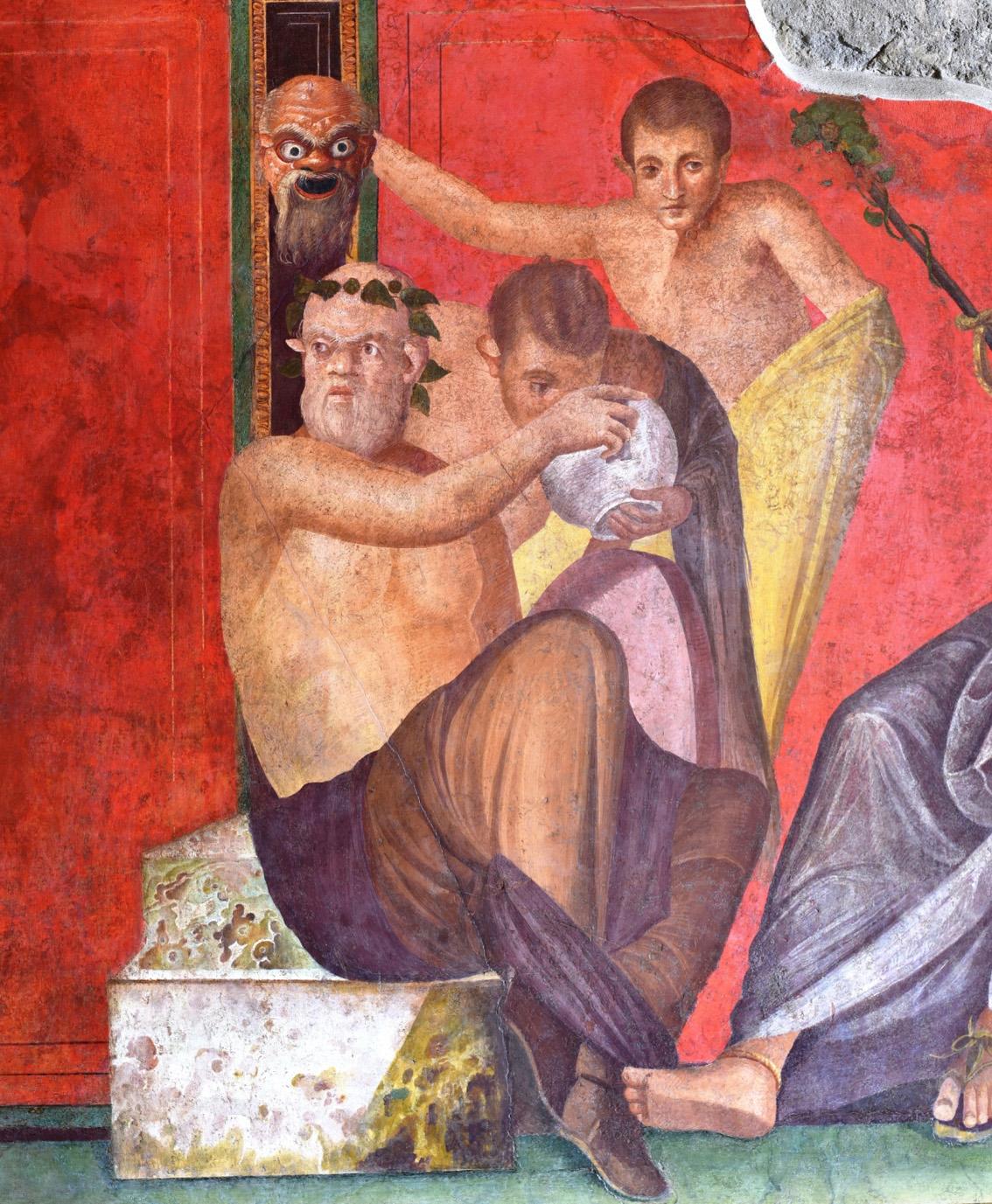 Detalle de uno de los frescos de la Sala del Triclinio después de la restauración.