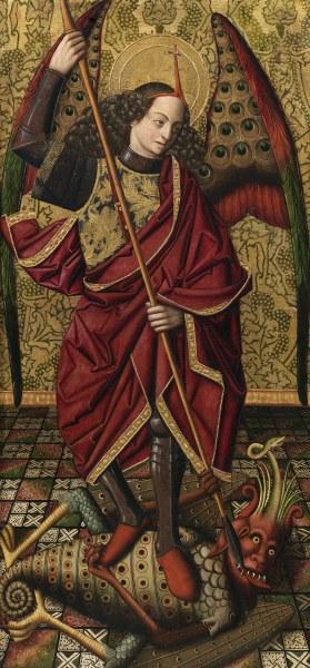 San Miguel arcángel, de Miguel Ximénez, 1485-95, pintura al óleo sobre tabla, 140 x 75 cm © Archivo Fotográfico. Museo Nacional del Prado. Madrid.