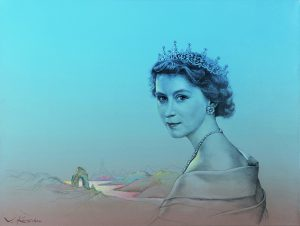 La reina Isabel II y el río de la vida, por Valentín Kovatchev, 2013, óleo y grafito sobre lienzo, 55 x 73 cm.