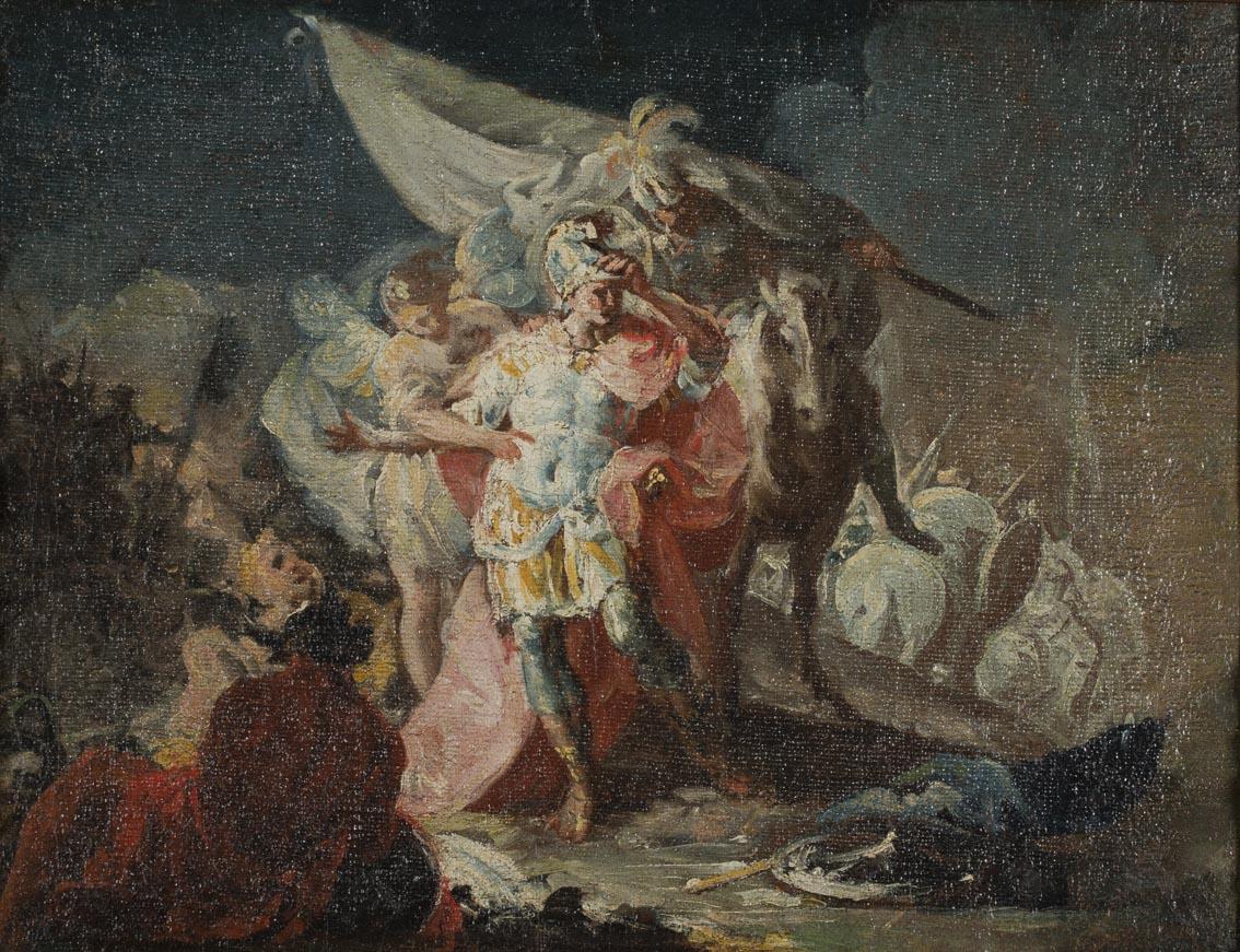 Aníbal vencedor, que por primera vez miró Italia desde los Alpes (boceto), h. 1770-71, óleo sobre lienzo, 30,6 x 38,5 cm, Zaragoza, Museo de Goya.