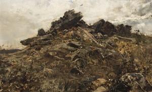 Paisaje rocoso, por Francisco Pradilla, óleo sobre lienzo, 36 x 58 cm.