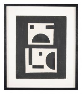 Positivo-negativo, por Salvador Corratge, técnica mixta sobre cartón, 50 x 40 cm.