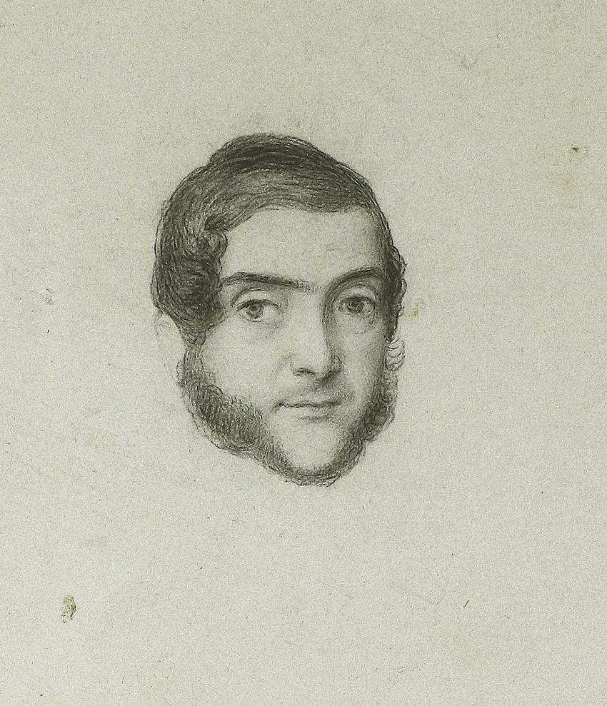 Retrato de Ramón Mesonero Romanos, de Rosario Weiss, Madrid, h. 1842, lápiz negro sobre papel, 165 x 125 mm.