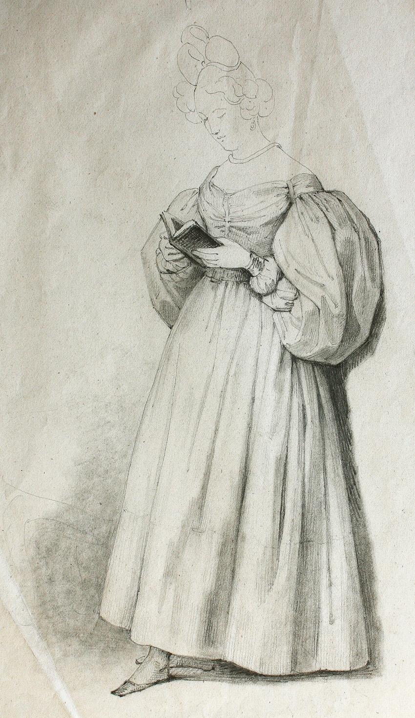 Mujer leyendo, de Rosario Weiss, Burdeos o Madrid, 1830-38, lápiz negro sobre papel, 256 x 200 mm.