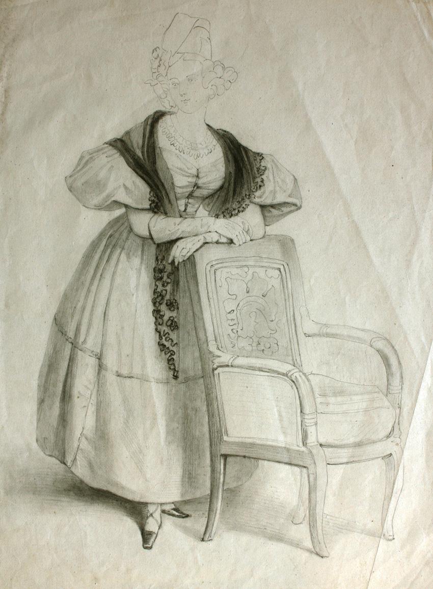 Figura femenina, de Rosario Weiss, Burdeos o Madrid, 1830-38, lápiz negro sobre papel, 262 x 203 mm.