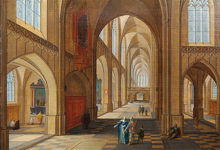 Interior de iglesias con figuras, de Pieter Neeffs El Joven.