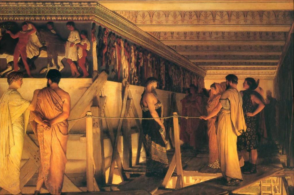 Fidias mostrando los frisos del Partenón, por Lawrence Alma-Tadema, 1868.