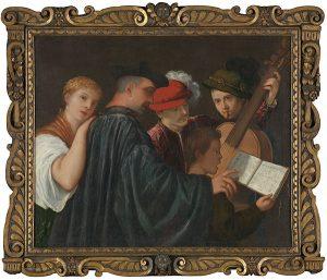 La lección de música, atribuido a Tiziano, h. 1535, óleo sobre lienzo, 99 x 120 cm © The National Gallery, London.