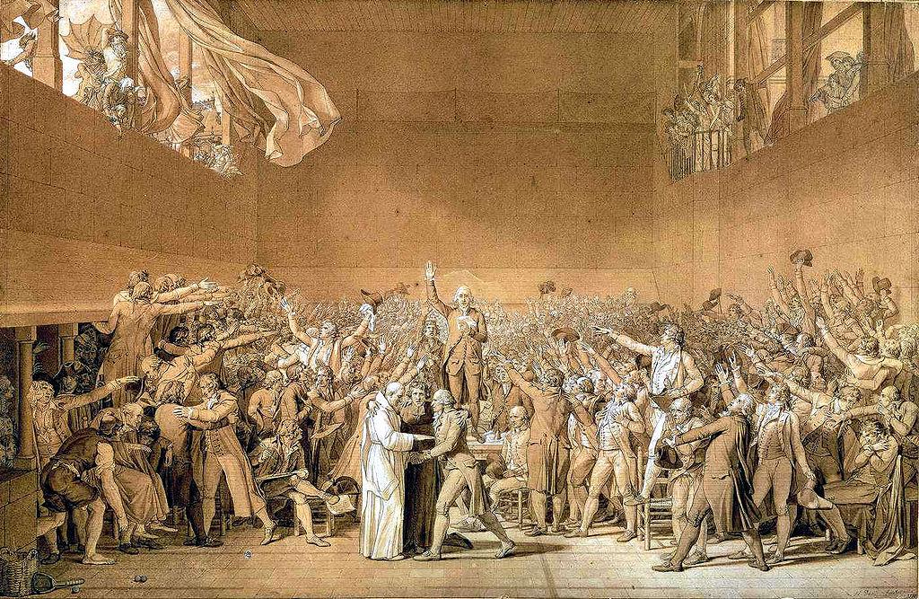 El Juramento del Juego de Pelota, por Jacques Louis David, 1791. Museo Nacional de Versalles.