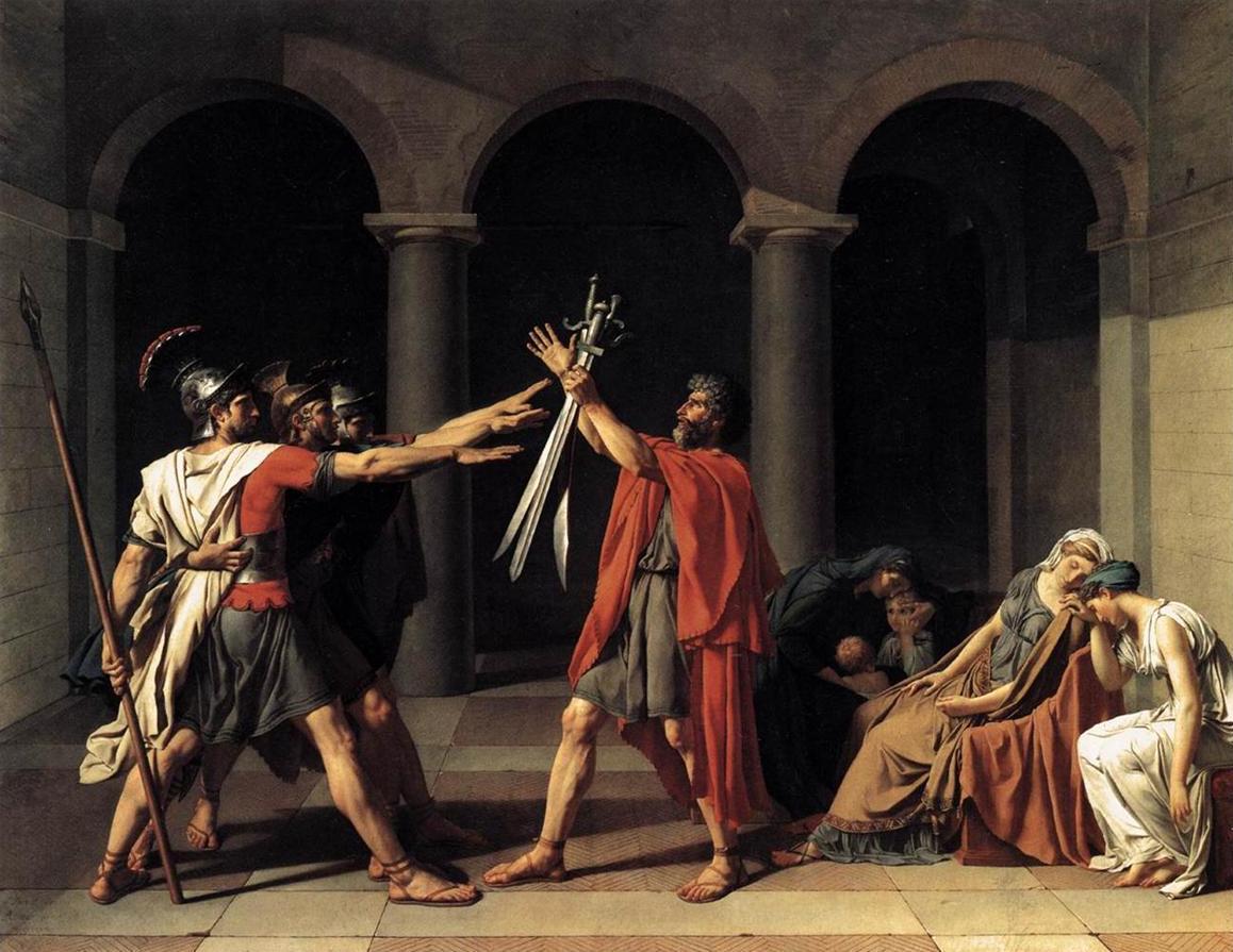 El Juramento de los Horacios, por Jacques Louis David, 1784. Museo del Louvre, París.