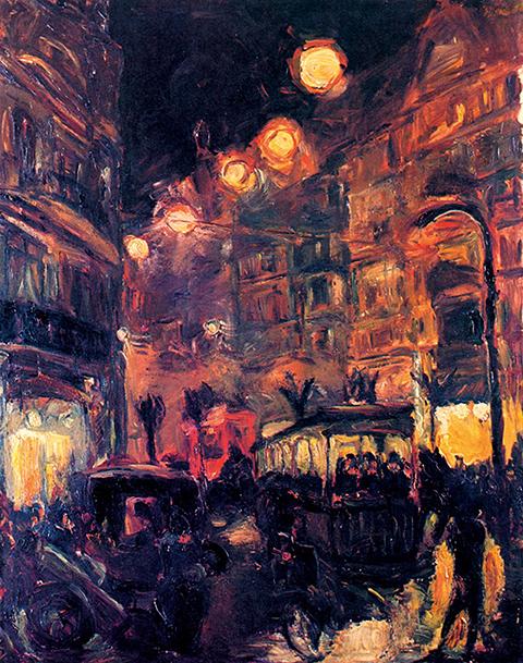 Max Beckmann Strasse bei Nacht