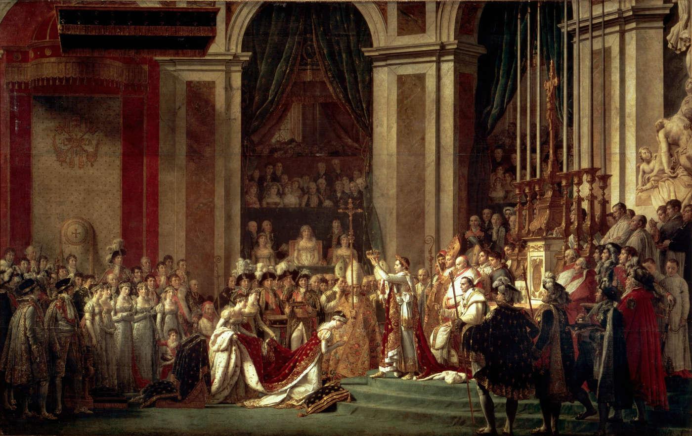 La coronación de Napoleón y coronación de Josefina, por Jacques Louis David, 1809. Museo del Louvre, París.
