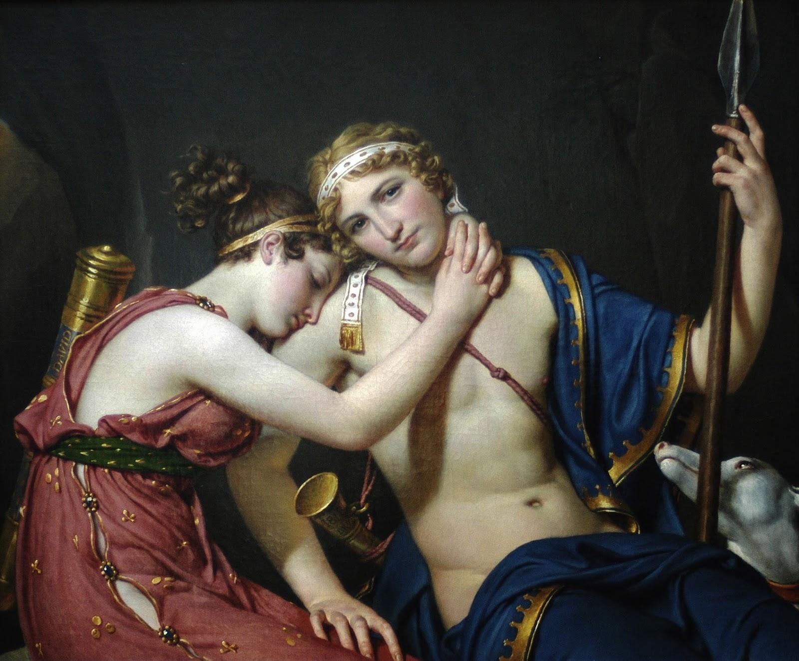 La despedida de Telémaco y Eucaris, por Jacques-Louis David, 1818, Colección privada.