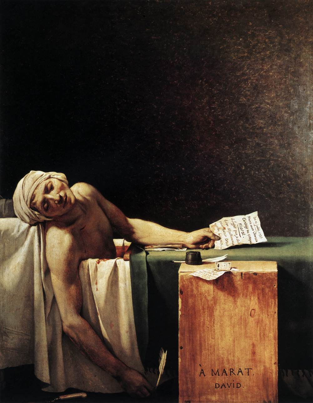 La muerte de Marat, por Jacques Louis David, 1793. Museo de Bellas Artes de Bélgica.