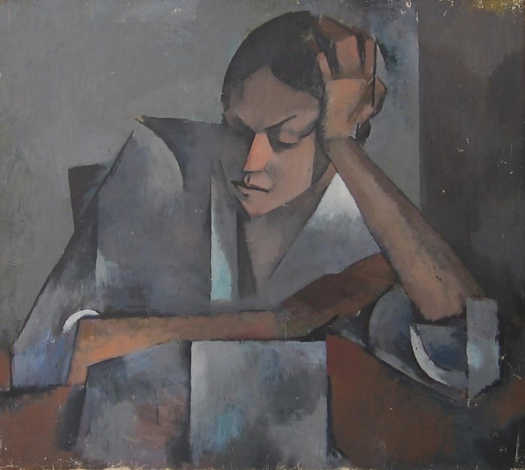 Mujer acodada en mesa, c. 1915, por Olga Sacharoff. Museo Art Nouveau y Art Dèco-Casa Lis.