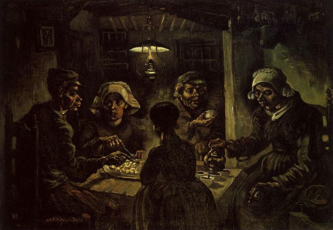 Los comedores de patatas, por Vincent van Gogh, Nuenen, abril 1885, óleo sobre lienzo, 82 x 114 cm, Ámsterdam, Museo Vincent van Gogh.
