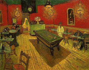 Café nocturno, por Vincent van Gogh, Arlés, septiembre 1888, óleo sobre lienzo, 72,4 x 92,1 cm, New Haven, Yale, University Art Gallery.