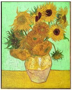 Jarrón con doce girasoles, por Vincent van Gogh, Arlés, agosto 1888, óleo sobre lienzo, 91 x 72 cm, Nueva Pinacoteca de Múnich.