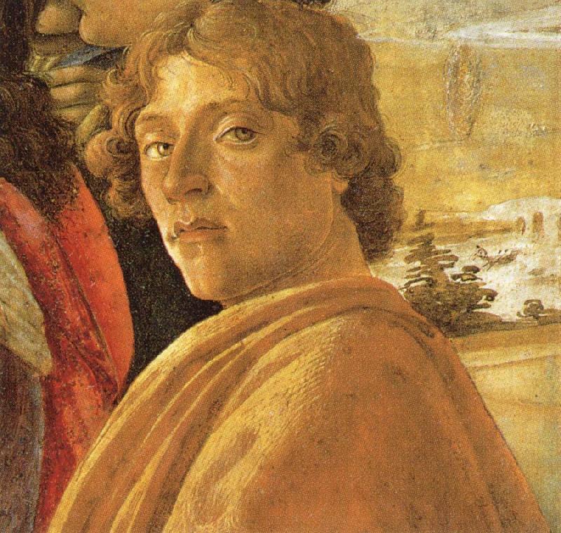 Autorretrato de Bottilleli. Arriba, El nacimiento de Venus.