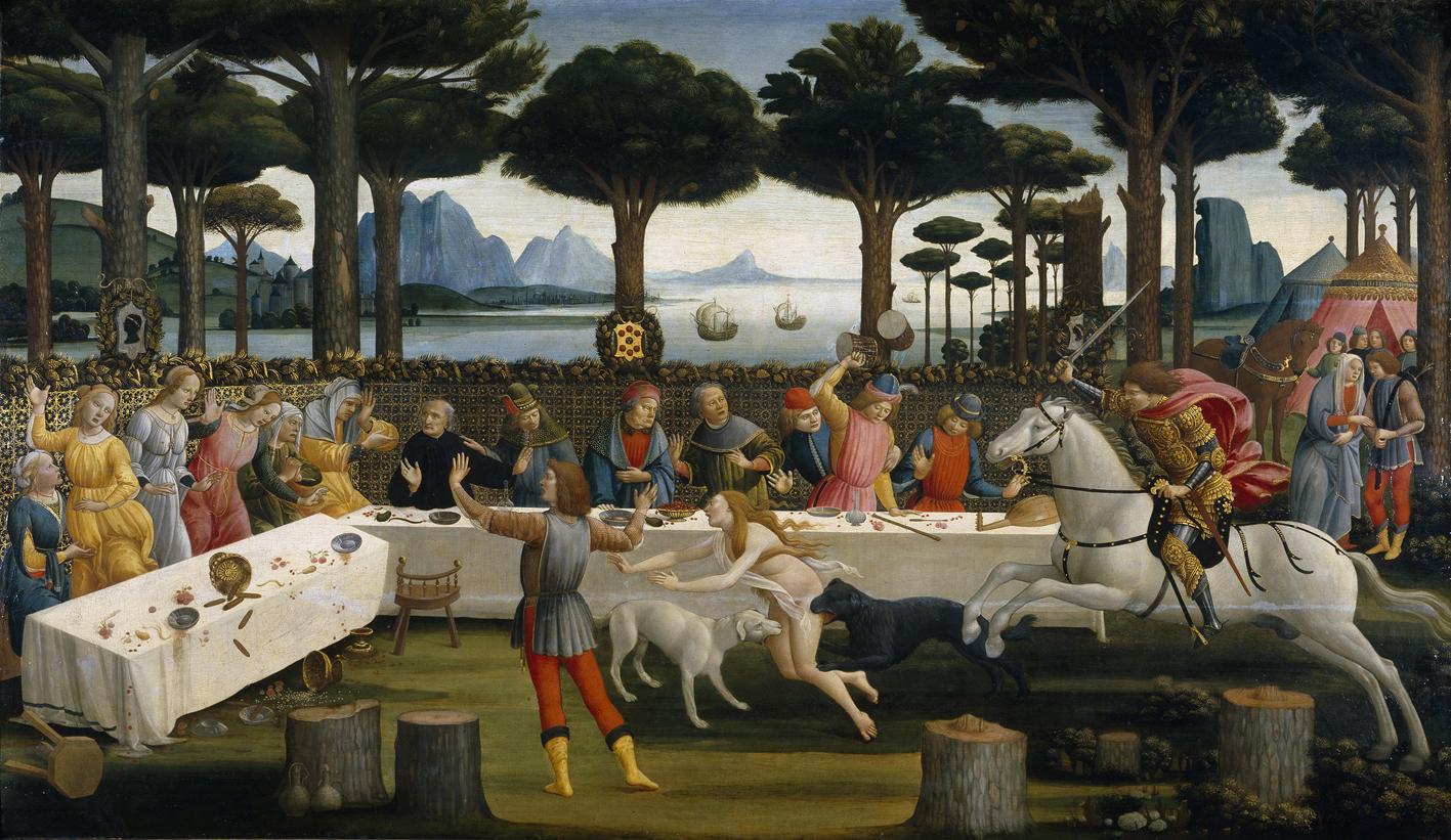 Una de las escenas de Nastagio degli Onesti, Museo del Prado, Madrid.