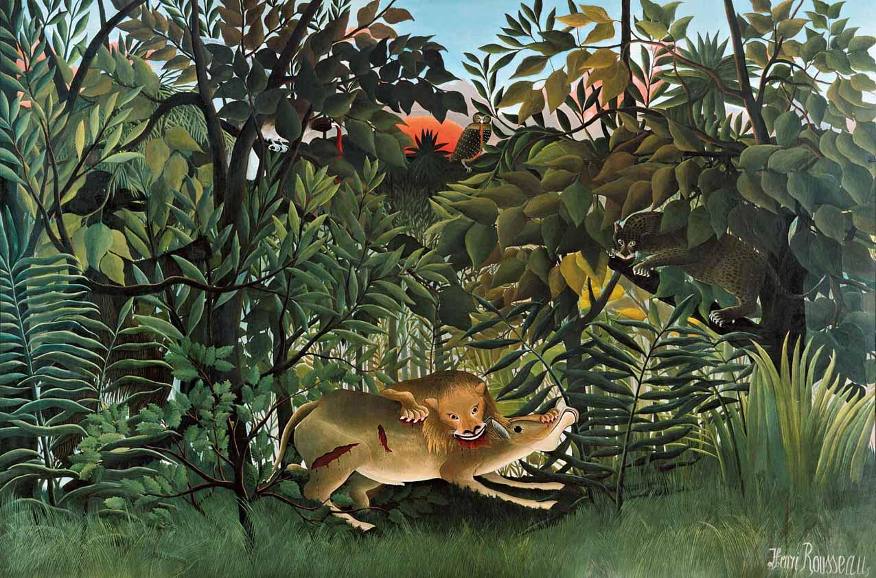 León hambriento atacando a un antílope, óleo sobre lienzo, 1898-1905, Fundación Beyeler, Basilea.