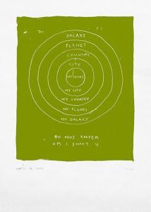 Do Not Enter or i Shoot you, por Rubén Martín de Lucas, serigrafía a una tinta, 70 x 50 cm.