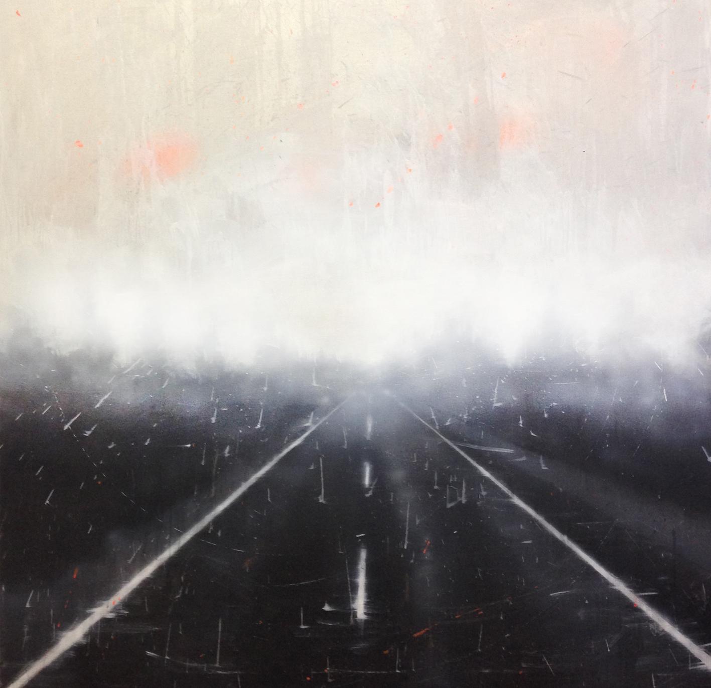 Niebla, de Belén Cobaleda, acrílico, resina y metacrilato sobre lienzo, 1.120 x 120 cm.
