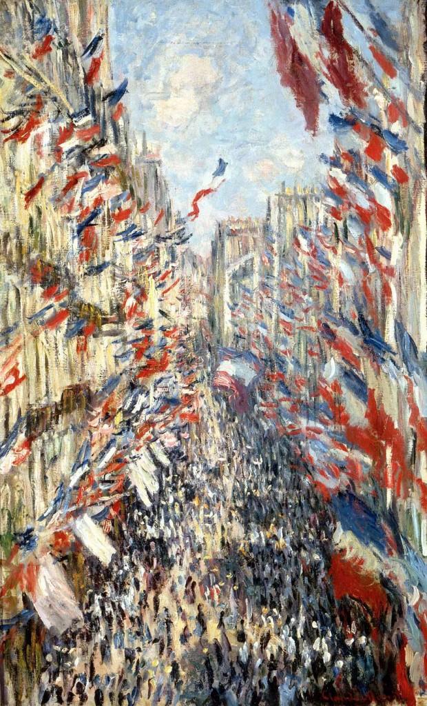 La Rue Montorgueil de París. Fiesta del 30 de junio de 1878, por Claude Monet, 1878, óleo sobre lienzo 81 x 50 cm, París, Museo de Orsay.