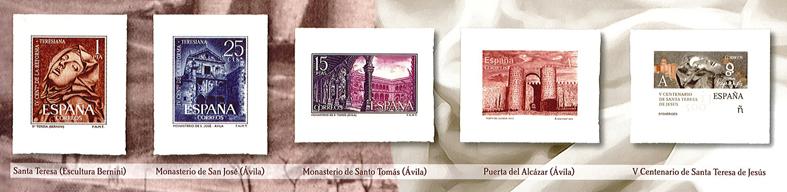 Sellos de la colección de grabados de Santa Teresa.