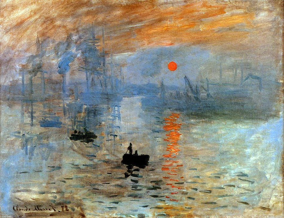 Impresión. Sol naciente, 1873, óleo sobre lienzo, 48 x 63 cm, París, Museo Marmottan Monet.