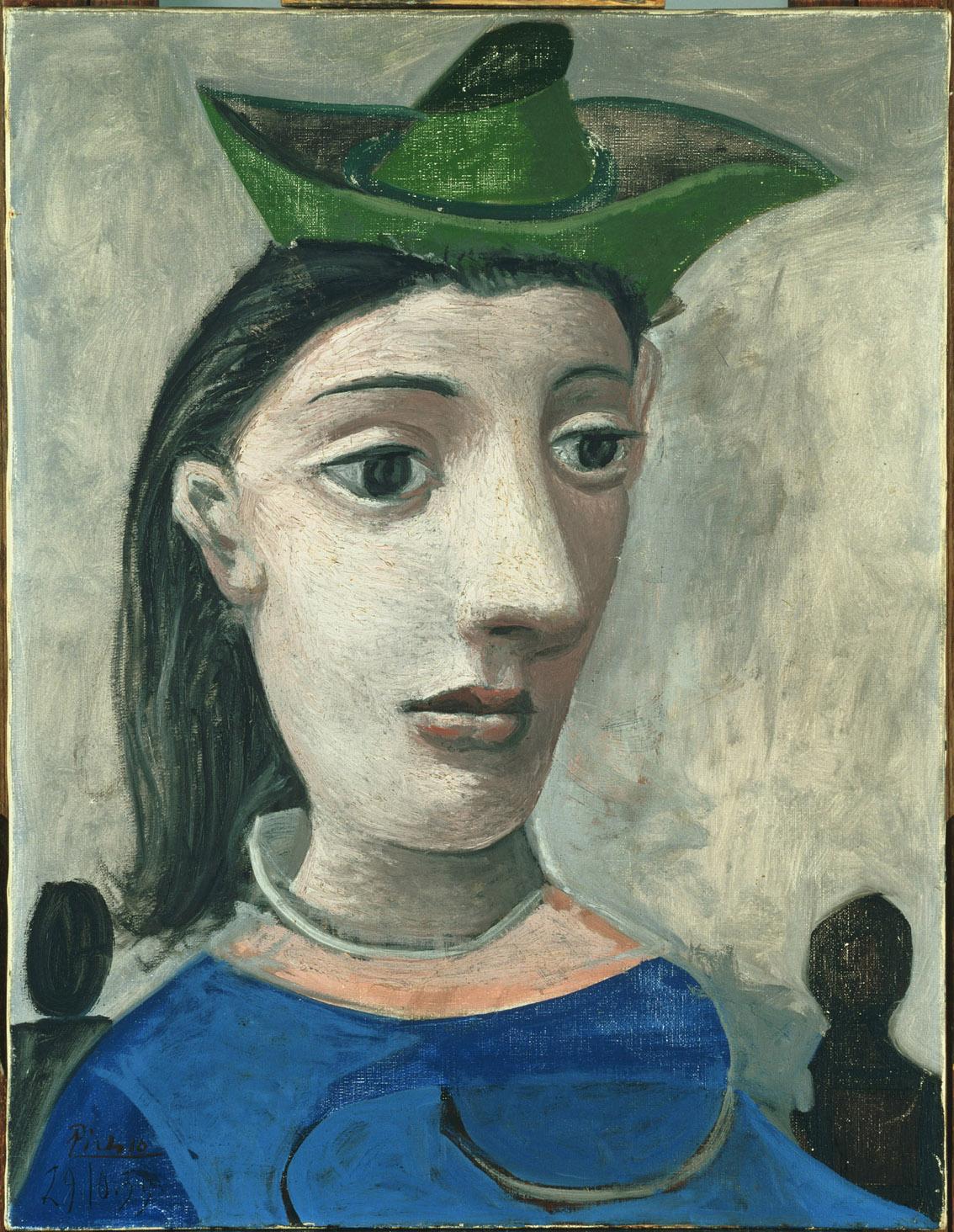 Mujer con sombrero verde, por Pablo Picasso, 1939, óleo sobre lienzo, 65 x 50,2 cm, The Phillips Collection, Washington, D.C., donado por Carey Walker Foundation, 1994.
