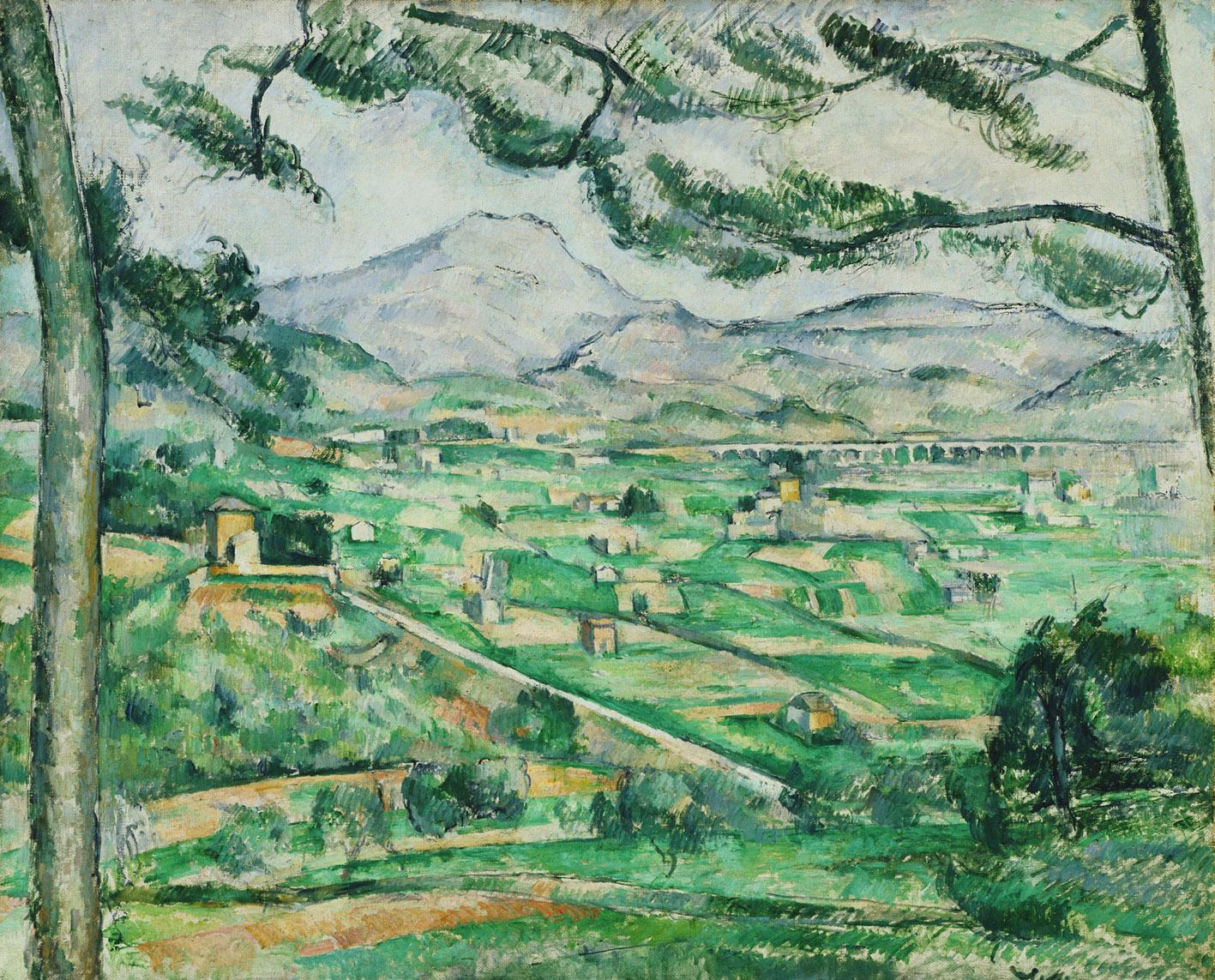 La montaña Saint Victoire, por Paul Cézanne, 1886-87, óleo sobre lienzo, 59,7 x 72,4 cm, The Phillips Collection, Washington, D.C., adquirido en 1925. Arriba, La habitación azul, por Pablo Picasso, 1901, óleo sobre lienzo, 50,5 x 61,6 cm, The Phillips Collection, Washington, D.C., adquirido en 1927.
