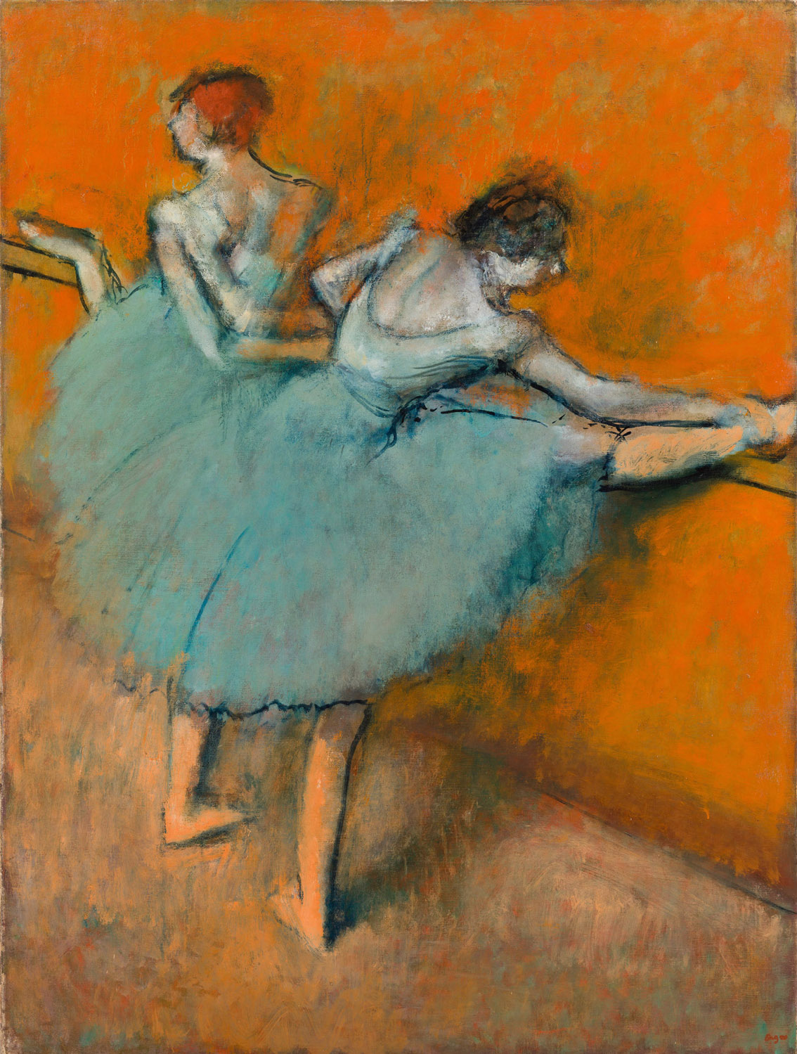 Bailarinas en la barra, por Hilaire-Germain-Edgar Degas, h. 1900, óleo sobre lienzo, 130,2 x 97,8 cm, The Phillips Collection, Washington, D.C., adquirido en 1944.