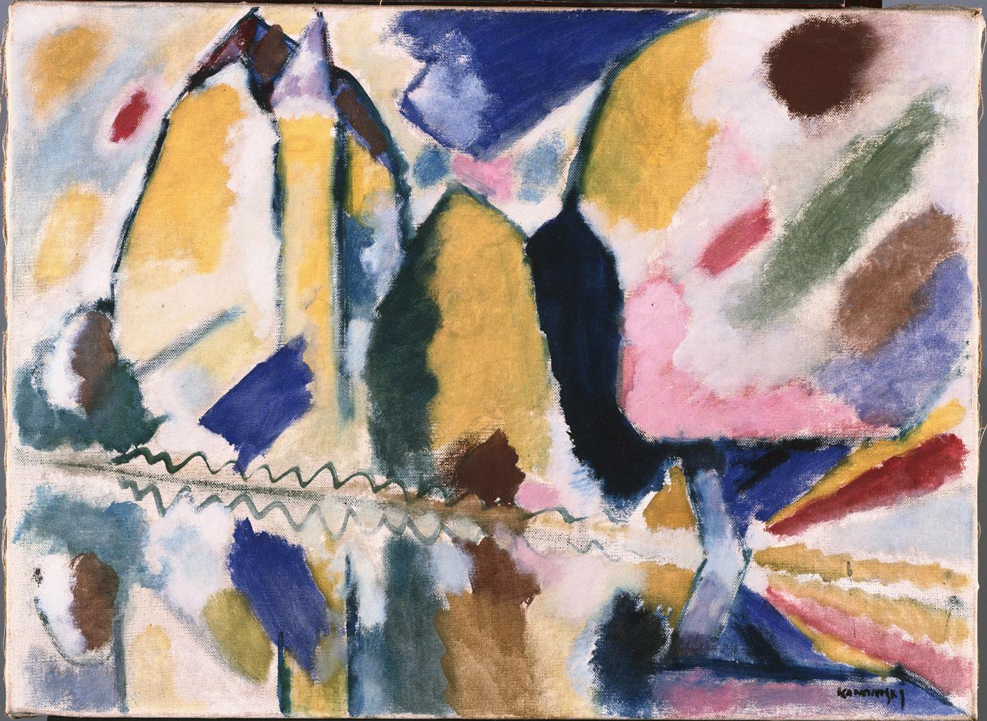Autunno II, por Vasili Kandinski, 1912, óleo sobre lienzo, 60,6 x 82,6 cm, The Phillips Collection, Washington, D.C., adquirido en 1945.