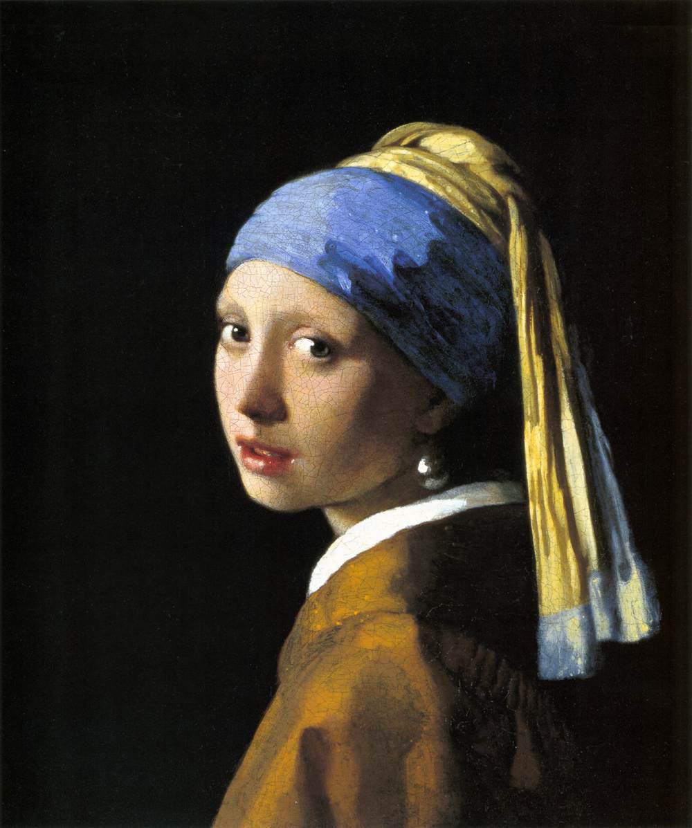 La joven de la perla o Muchacha con turbante, h. 1665-67, óleo sobre lienzo, 46,5 x 40 cm, La Haya, Mauritshuis.