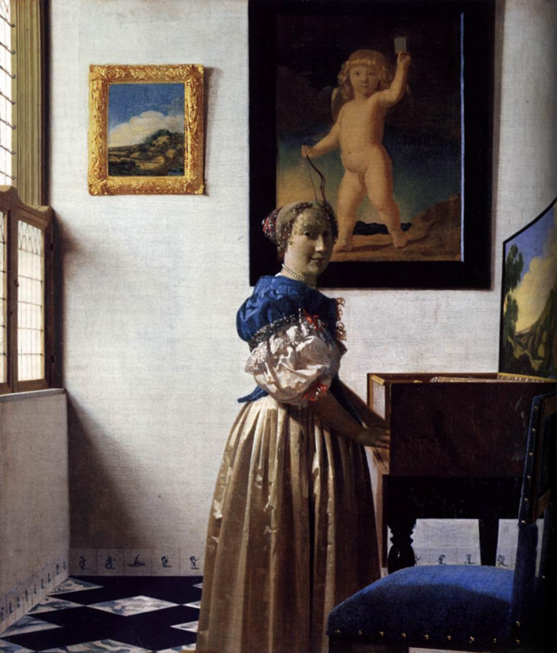 Mujer tocando un virginal, h. 1672-73, óleo sobre lienzo, Londres, National Gallery.