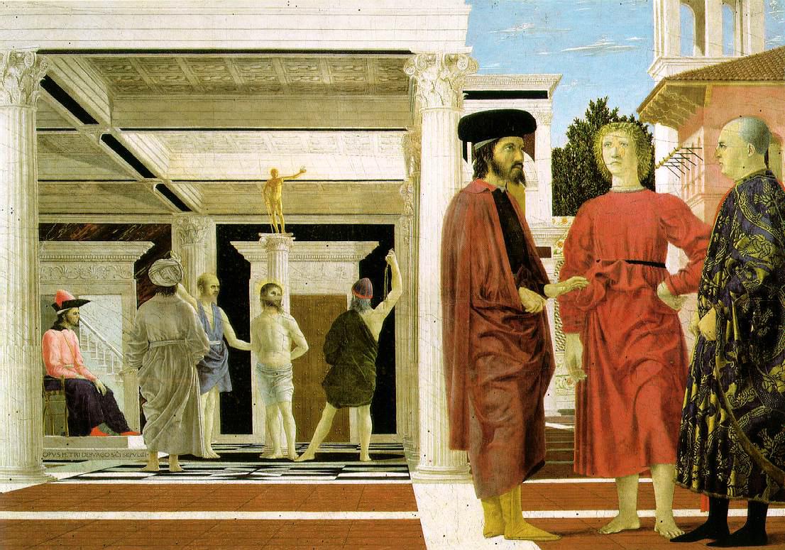 La flagelación, h. 1455, temple sobre tabla, 59 x 81,5 cm, Urbino, Galería Nazionale del Marche.