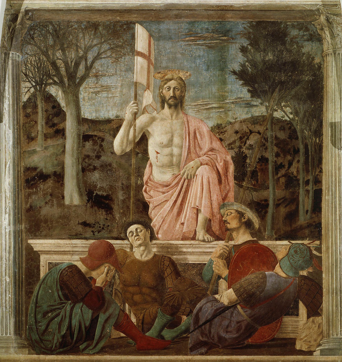 La resurrección de Cristo, 1463-65, fresco, Museo Civico Sansepolcro. El personaje del centro es un autorretrato de Piero della Francesca.