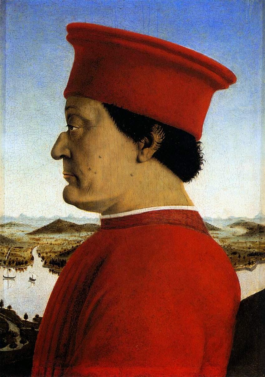 Federico de Montefeltro, h. 1472, óleo sobre tabla, 47 x 33 cm, Florencia, Galeria de los Uffizi.