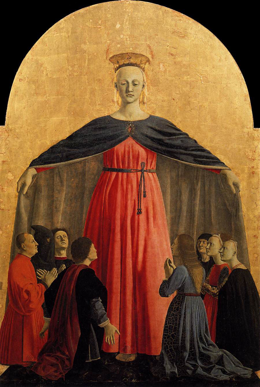 Detalle del Político de la Misericordia, 1445-62, temple sobre tabla, 273 x 323 cm, Borgo Sansepolcro, Museo Civico.